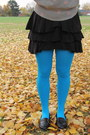 Light-blue-sky-blue-betsey-johnson-tights-black-marciano-skirt
