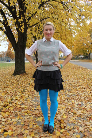light blue sky blue Betsey Johnson tights - black Marciano skirt