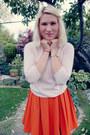 Carrot-orange-h-m-skirt-light-pink-cashmere-unknown-sweater
