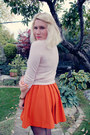 Carrot-orange-h-m-skirt-light-pink-cashmere-unknown-sweater