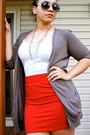 White-shirt-brown-cardigan-ruby-red-skirt-dark-gray-glasses