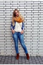 black H&M bag - tawny Zign boots - sky blue Zara jeans