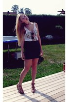 H&M wedges - Ray Ban sunglasses - H&M skirt - GINA TRICOT top