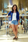 Blue-blazer-white-shirt-sky-blue-denim-shorts-shorts