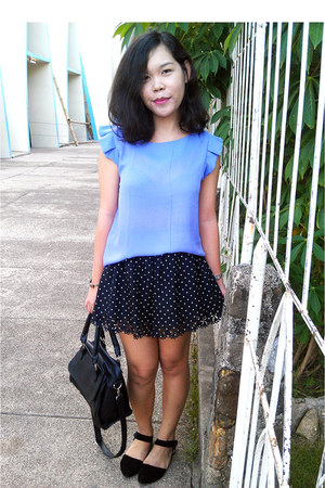violet lavender blouse - dotted skirt