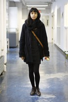dark brown shoes - black dress - navy jacket - black scarf - tawny bag