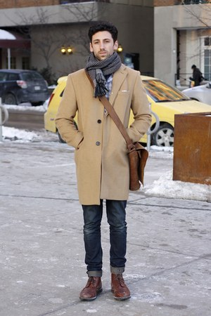 brick red boots - camel coat - navy jeans - gray scarf - brown bag