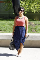 black bag - navy skirt - coral top