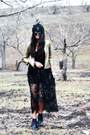 Black-lace-beading-shahkuhachi-dress-gold-sequined-silence-noise-jacket