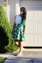 teal asos skirt - white Zara shirt - nude Zara flats