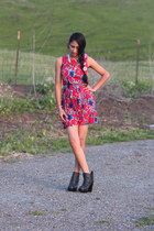 black Deena & Ozzy boots - red Urban Outfitters dress - gold H&M necklace