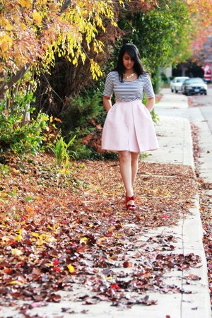 pink asos skirt - white H&M shirt - red Macys heels