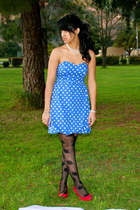 blue Target dress - black Urban Outfitters tights - red Macys heels