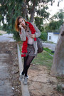 Ruby-red-scarf-heather-gray-guess-boots-beige-zara-jeans