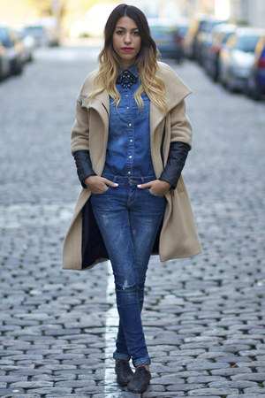 Zara coat - Anniel shoes - Zara jeans - Zara shirt - Zara necklace
