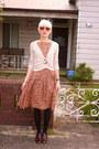 Maroon-leather-vintage-shoes-peach-cotton-floral-vintage-dress