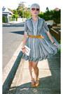 Striped-frilled-vintage-dress-patent-leather-wittner-shoes