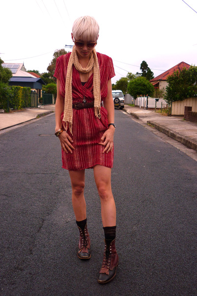 black vintage boots - ruby red vintage remake dress