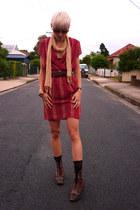 black vintage boots - ruby red vintage remake dress