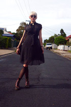 black polka dot Sportsgirl dress - dark brown fringed vintage boots