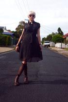 black polka dot Sportsgirl dress - dark brown fringed vintage boots
