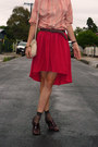 Red-rayon-diy-skirt-brick-red-brogues-vintage-shoes