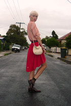 red rayon DIY skirt - brick red brogues vintage shoes