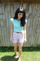 aquamarine striped H81 shirt - white floral Route 66 shorts