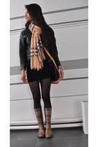 nude Burberry boots - black bodycon H&M dress - black H&M jacket