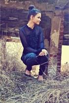 black Esprit blouse - black Guess pants - black heels
