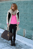 dark brown Anthropologie jacket - hot pink Gap sweater