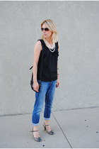 blue united colors of benetton jeans - black JCrew top
