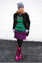 magenta Hunter boots - deep purple JCrew skirt