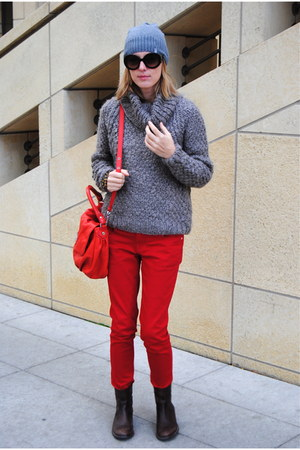red Marshalls jeans - heather gray TJ Maxx sweater
