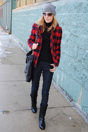 red JCrew coat - navy Forever 21 pants