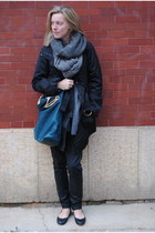 charcoal gray H&M scarf - heather gray JCrew scarf
