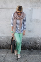 aquamarine Urban Outfitters jeans - heather gray JCrew top