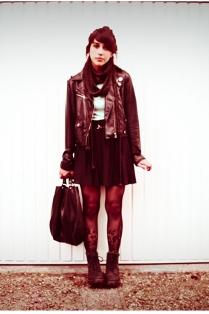 vintage skirt - H&amp;M jacket - doc martens shoes - vintage t-shirt - H&amp;M tights - 