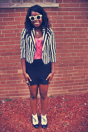 Forever 21 blazer - Wanted Shoes shoes - asos sunglasses - H&M skirt