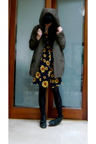navy sunflower vintage dress - olive green parka asos coat