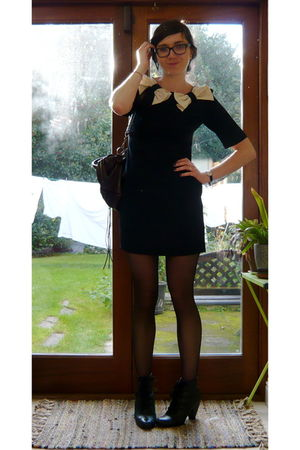 black A-wear dress - brown balenciaga bag - black American Apparel tights