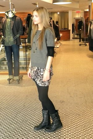 banana republic accessories - Zara boots - Ralph Lauren shirt - majestic skirt -