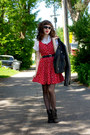 Ruby-red-horse-divided-dress-black-faux-leather-divided-jacket