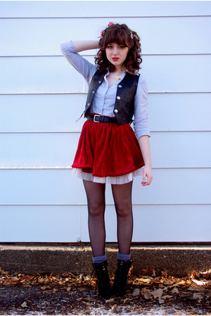 crushed velvet Hand Made skirt - Steve Madden boots - unknown shirt