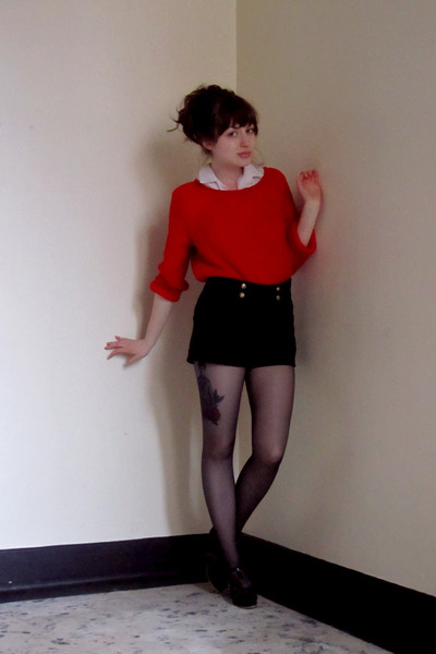 red Zara sweater - black H&M shorts
