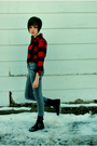 Gray-cheap-monday-jeans-red-lands-end-shirt-dirty-laundry-boots-silver-bet