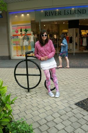 pink Gate earrings - pink Gate jacket - pink Primark tights - white Gate shirt -