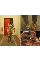 beige Mango blouse - brown Mango pants - gold accessories - beige Giuseppe Zanot