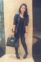 leather jacket jacket - zipper dress dress - bag