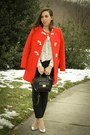 Red-jcrew-coat-silver-metallic-jcrew-pumps